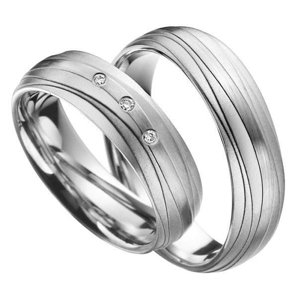 Eheringe - Palladium - mit Diamanten - R513-0