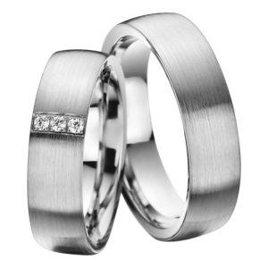 Eheringe - Palladium - mit Diamanten - R516-0