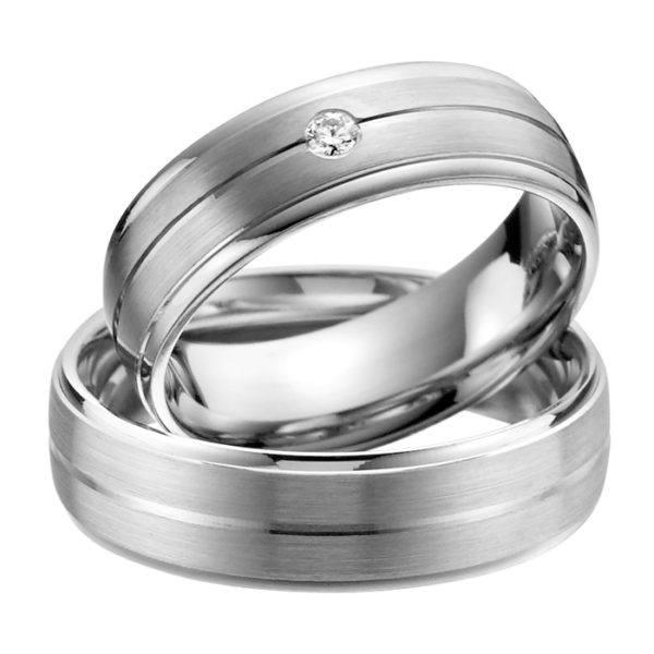 Eheringe - Palladium - mit Diamant - R517-0