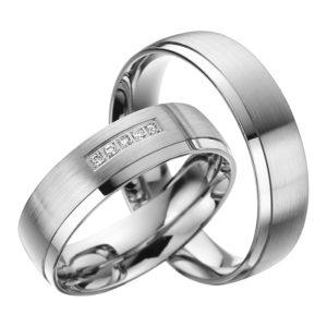 Eheringe - Palladium - mit Diamanten - R519-0