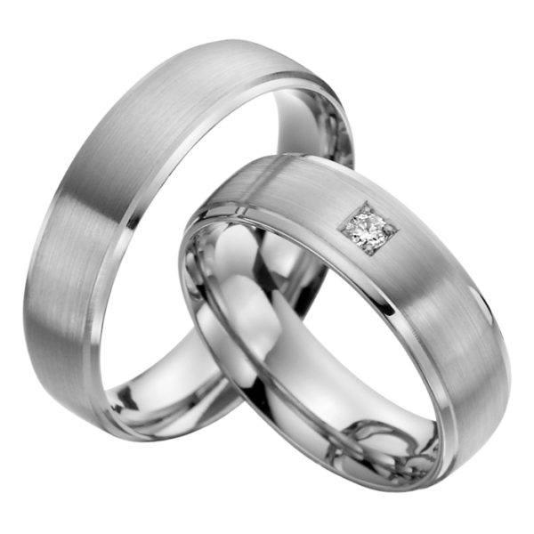 Eheringe - Palladium - mit Diamant - R520-0