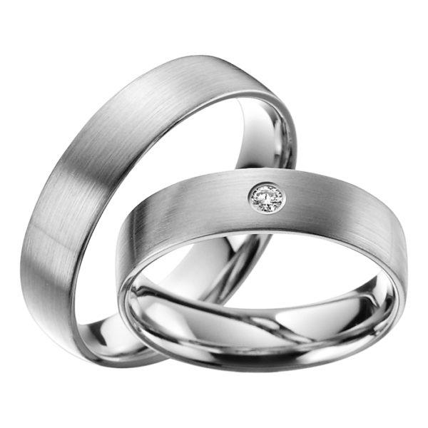 Eheringe - Platin - mit Diamant - R601-0