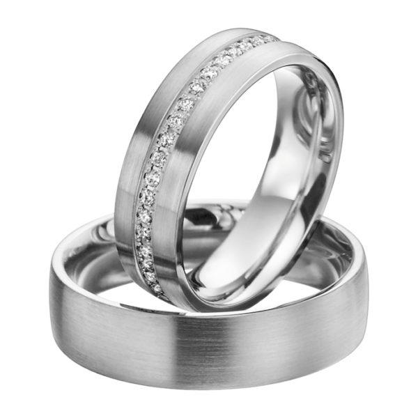 Eheringe - Platin - mit Diamanten - R603-0