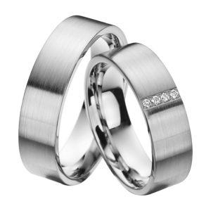 Eheringe - Platin - mit Diamanten - R604-0