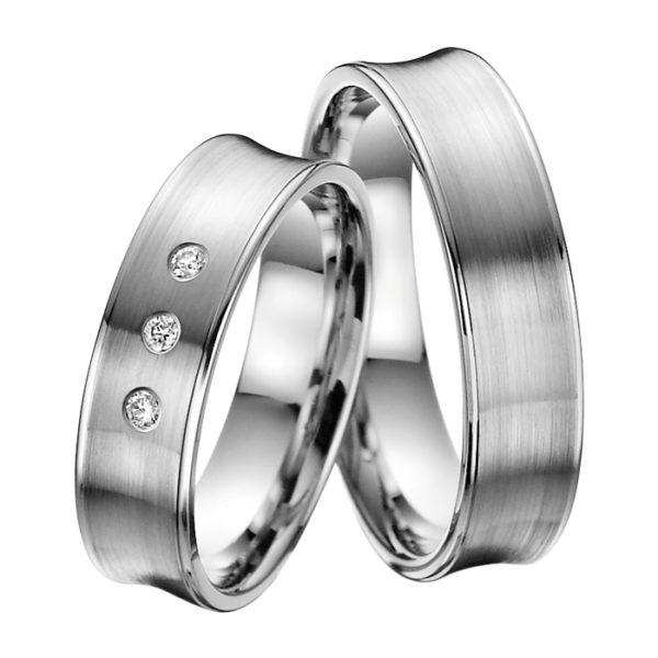 Eheringe - Platin - mit Diamanten - R606-0