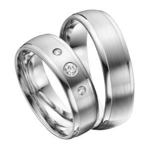 Eheringe - Platin - mit Diamanten - R608-0
