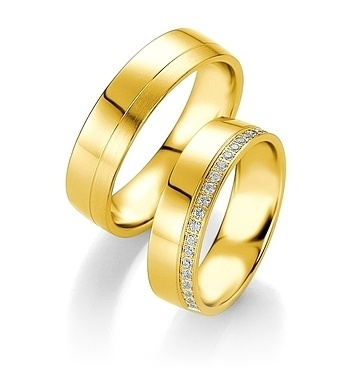 Breuning - Trauringe - Platin Design -DR 090740 / HR 090750 - Gelbgold