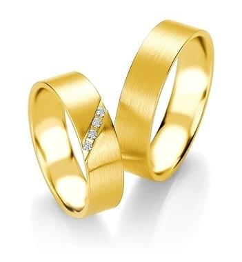 Breuning - Trauringe - Platin Design - DR 090840 / HR 090850 - Gelbgold