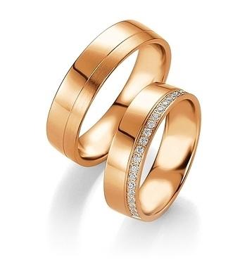 Breuning - Trauringe - Platin Design -DR 090740 / HR 090750 - Rotgold