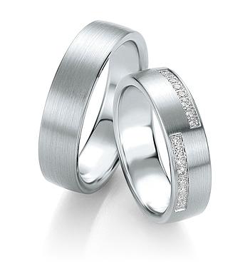 Breuning - Trauringe - Platin Design - DR 090700 / HR 090710 - Weißgold