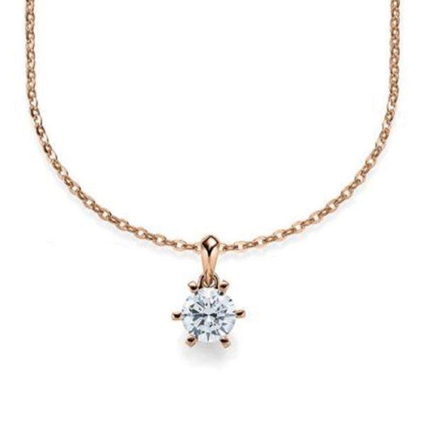 Kette mit Diamantanhänger - 6er-Krappenfassung - Klassisch - Rotgold - Roségold
