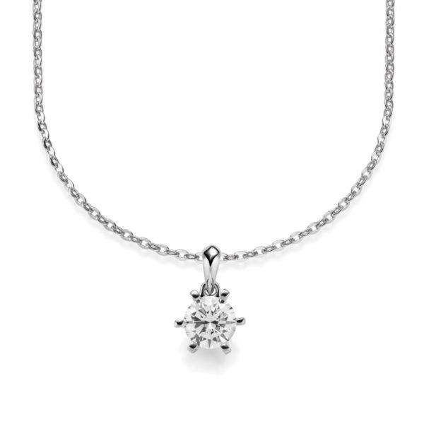 Kette mit Diamantanhänger - 6er-Krappenfassung - Klassisch - Weißgold - Platin