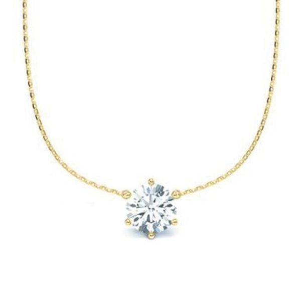 Kette mit Diamantanhänger - 6er-Krappenfassung - Klassisch - Gelbgold - Gold