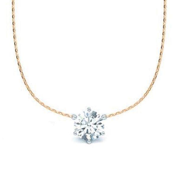 Kette mit Diamantanhänger - 6er-Krappenfassung - Klassisch - Rotgold - Weißgold