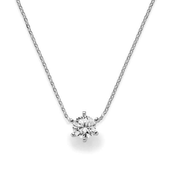 Collier mit Diamant - 6er-Krappenfassung - Klassisch - Weißgold - Platin