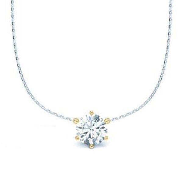 Kette mit Diamantanhänger - 6er-Krappenfassung - Klassisch-0