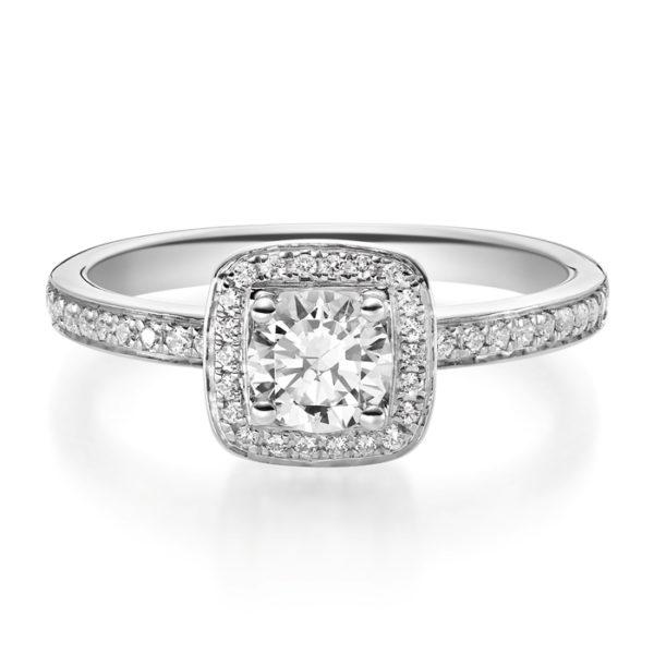 Verlobungsring mit Diamanten - 4er-Krappenfassung - Halo-0