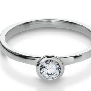 Verlobungsring in Weißgold mit 0.20 Karat in einer Zargenfassung 41-05294