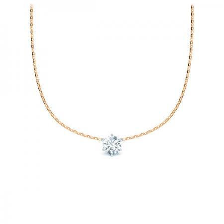 Kette mit Diamantanhänger - 6er-Krappenfassung - Klassisch-19935