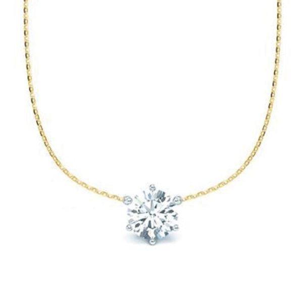 Kette mit Diamantanhänger - 6er-Krappenfassung - Klassisch - Gelbgold - Weißgold