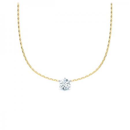 Kette mit Diamantanhänger - 6er-Krappenfassung - Klassisch-19936