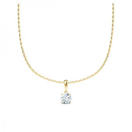 Kette mit Diamantanhänger - 4er-Krappenfassung - Klassisch-0