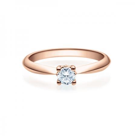Verlobungsring mit Diamant in Rosegold - 4er-Krappenfassung - Modern