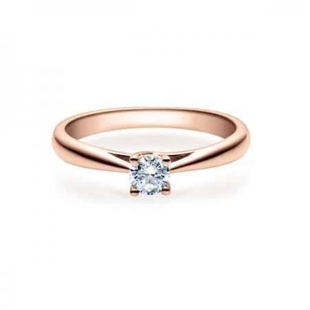Verlobungsring in Rosegold mit Diamant - 4er-Krappenfassung - Rubin - 18002