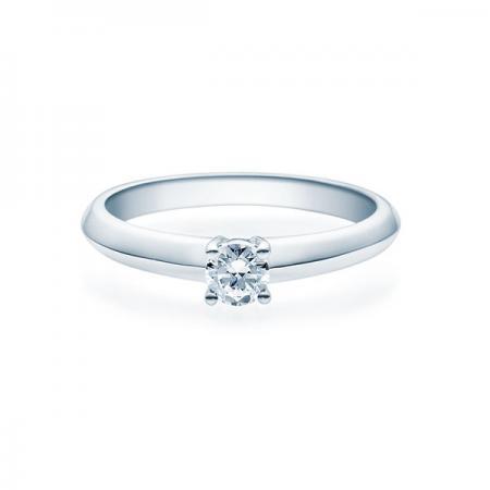 Verlobungsring in weiß mit Diamant - 4er-Krappenfassung - Klassisch