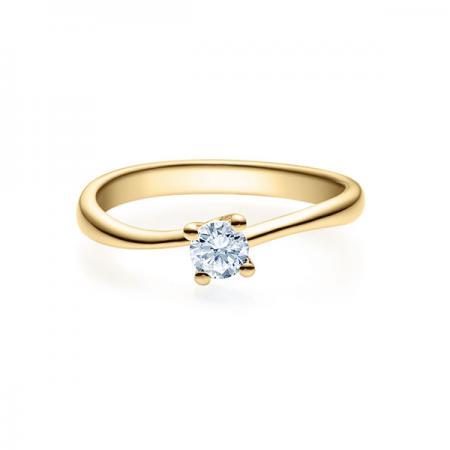 Verlobungsring in Gelbgold mit Diamant - 4er-Krappenfassung - Rubin - 18011