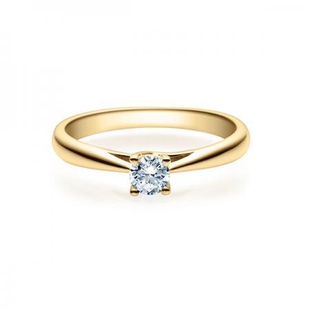 Verlobungsring in Gelbgold mit Diamant - 4er-Krappenfassung - Klassisch
