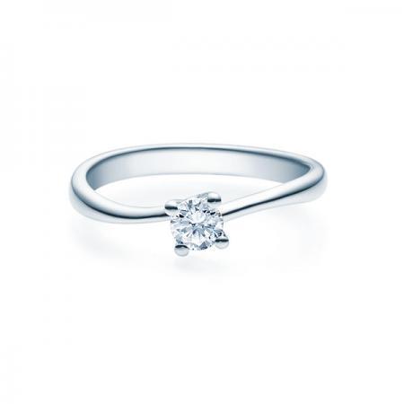 Verlobungsring mit Diamant - 4er-Krappenfassung - Rubin - 18011