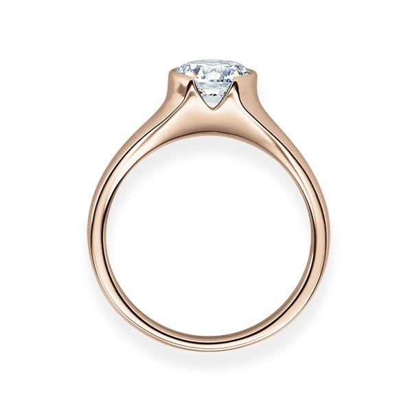 Verlobungsring mit Diamant - Halb-Zargenfassung - Rosegold- Modern-20635