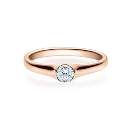 Verlobungsring mit Diamant - Halb-Zargenfassung - Rubin - 18022