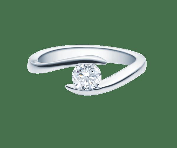 Verlobungsring mit Diamant - Geschwungene Spannfassung - Modern - 18015
