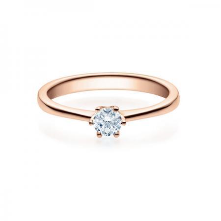 Verlobungsring mit Diamant - 6er-Krappenfassung - Rubin - 18016
