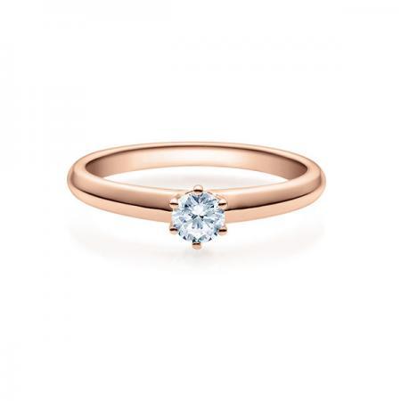 Verlobungsring mit Diamant - 6er-Krappenfassung - Rotgold- Rubin - 18003