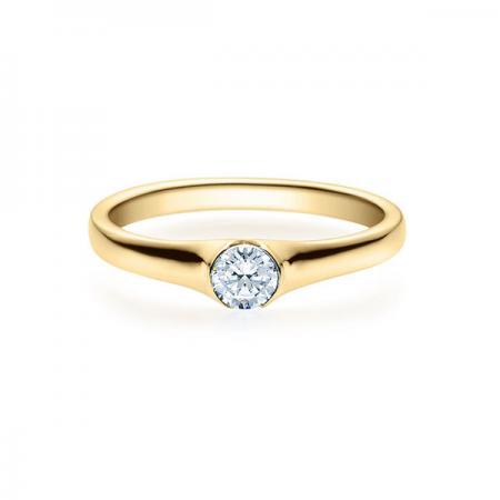 Verlobungsring mit Diamant - Halb-Zargenfassung - Gelbgold- Modern