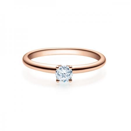 Verlobungsring mit Diamant Rosegold - 4er-Krappenfassung - Rubin - 18018