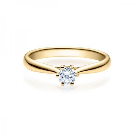 Verlobungsring mit Diamant - 6er-Krappenfassung - Rubin - 18007