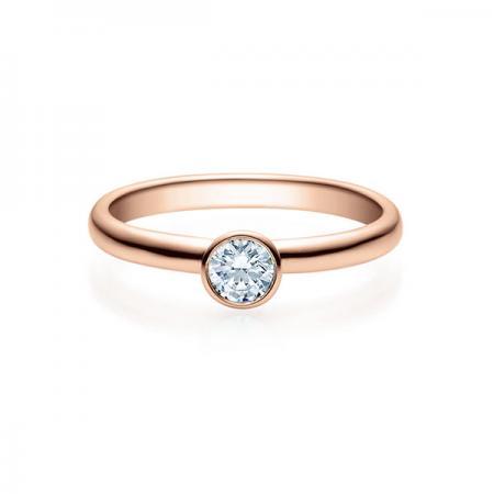 Verlobungsring mit Diamant - Zargenfassung - Rubin - 18019
