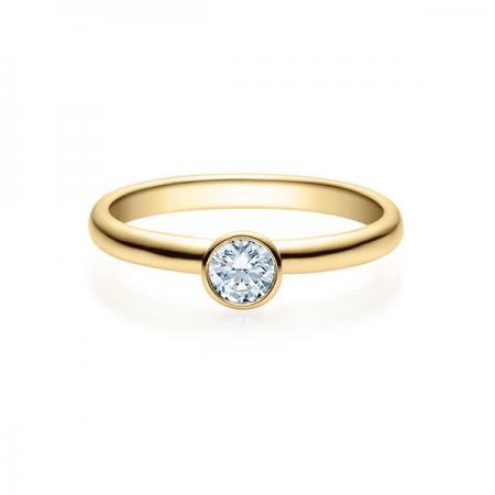 Verlobungsring mit Diamant - Zargenfassung - Gelbgold - Klassisch