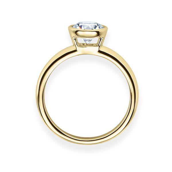 Verlobungsring mit Diamant - Zargenfassung - Gelbgold - Klassisch-20627