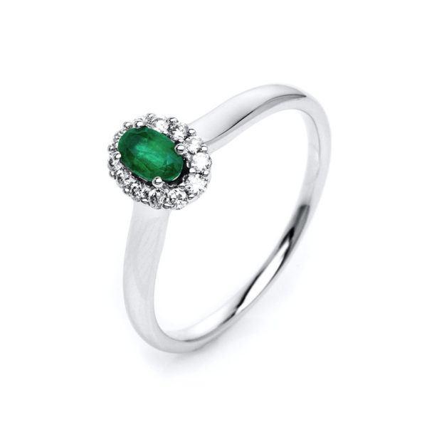 Verlobungsring mit Smaragd- 4er-Krappenfassung - Halo