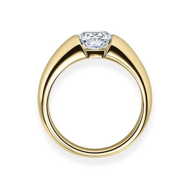 Verlobungsring mit Diamant - Spannfassung - Gelbgold Modern-20581