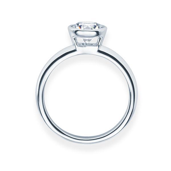 Verlobungsring mit Diamant - Zargenfassung - Weiß- Klassisch-20631