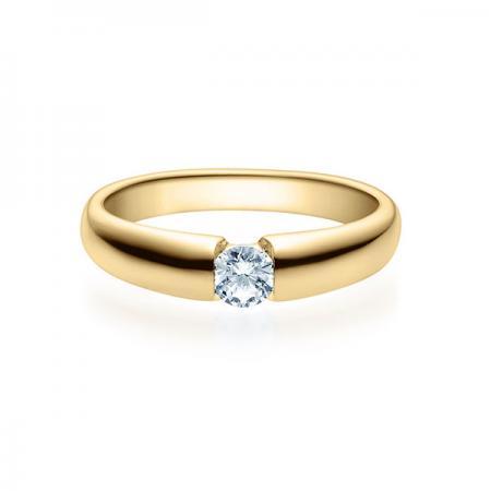 Verlobungsring mit Diamant - Spannfassung - Gelbgold Modern