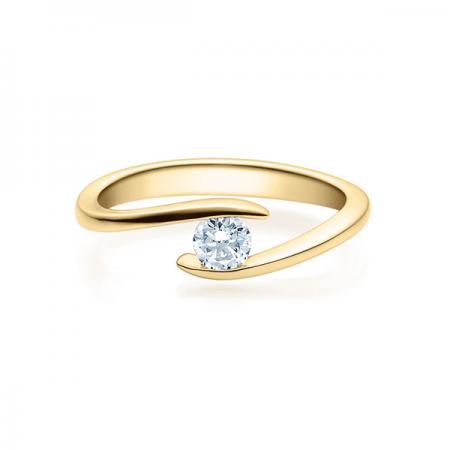 Verlobungsring mit Diamant - Geschwungene Spannfassung - Modern - Gelbgold- 18015