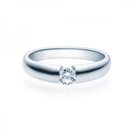 Verlobungsring mit Diamant - Spannfassung - Weiß- Modern