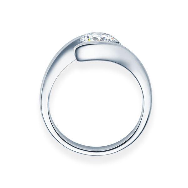 Verlobungsring mit Diamant - Geschwungene Spannfassung - Modern-Weiß-20376